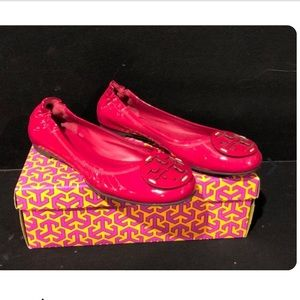 New TORY BURCH Red Patent Reva Flats